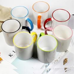Mugs blanc liseré coloré céramique à imprimer uv sublimation personnalisation